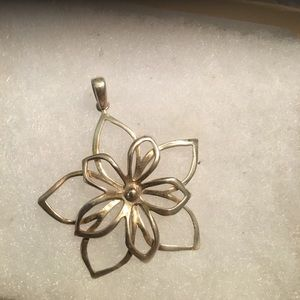 Sterling Silver Vintage Flower  Pendant